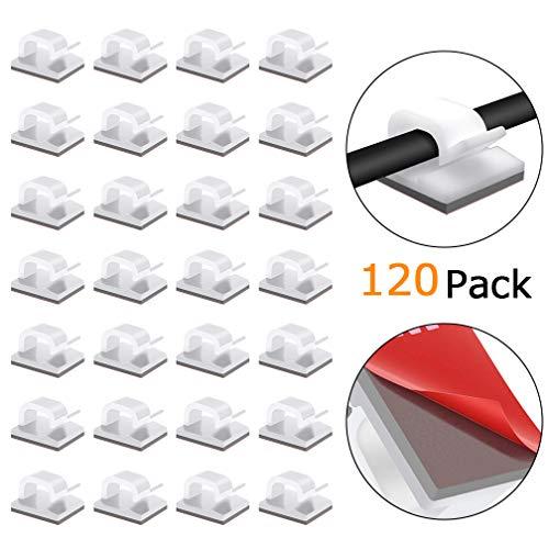 Viaky Kabel-Clips, 120 Stück, selbstklebend, verbesserte Drahthalterungen, Auto-Kabel-Organizer, ideal für Computer-Kabel/Netzwerkkabel/TV-Kabel/Ethernet/HDMI/Netzkabel (weiß) 120-w