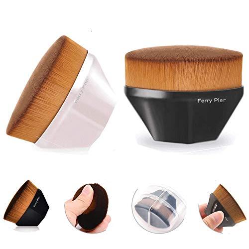 2PCS Pinceau de maquillage professionnel Pinceau fond de teint Flat Top-For Fond de teint liquide et crème et poudre synthétique Mélangeant fibre Face Touch-Soft pinceau de maquillage de maquillage