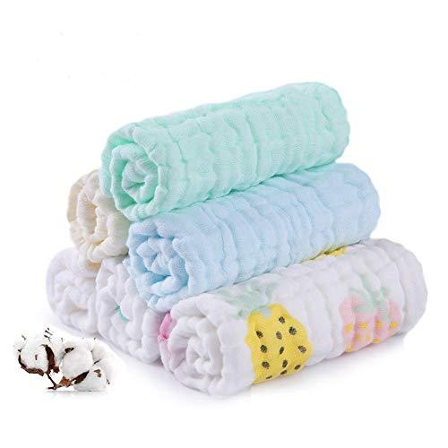 Baby Musselin Waschlappen, Weiche Neugeborene Baby Gesichtstücher, Mehrzweck-natürliche Baumwolle Baby Wipes (10 PACK A) (Pink, 10-1) (6...