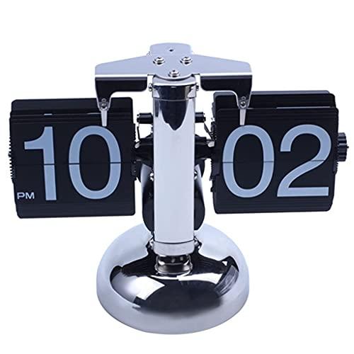 WSYGHP Rota Retro sobre el Reloj de Reloj de Acero Inoxidable Flip de Acero Interno Operado de la Tabla Relojes de Cuarzo operados a Escala de Cuarzo Reloj Despertador