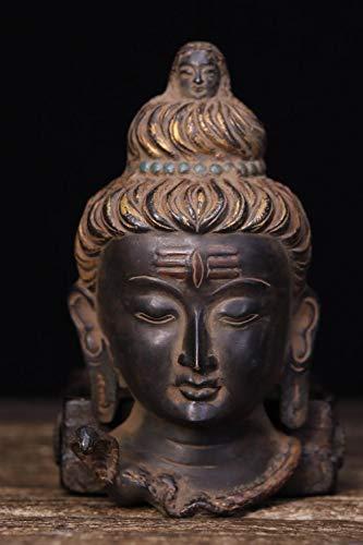 Winpavo Buddha DekorationHochzeitsdekorationTibetisches Kloster Bronze Gemalte Sakyamuni Buddha Kopf Statue Buddha Maske Avatar Maske