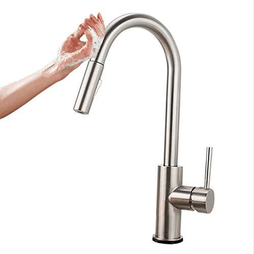 Sensor táctil extraíble Grifos,Onda de movimiento Arco alto Manija simple,Lavabo del baño Grifos,Válvula de cerámica,Mezclador de agua caliente y fría,para una Habitación,Cocina,Garaje etc-Plata