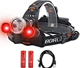 Lampe frontale rechargeable, lampe frontale LED rouge + blanc avec 5000 lumens super lumineuses, 3...