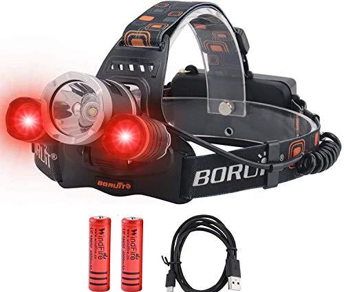 Lámpara de cabeza recargable, lámpara frontal LED rojo + blanco con 5000 lúmenes súper luminosos, 3 modos para camping, senderismo, correr, caza (batería incluida)