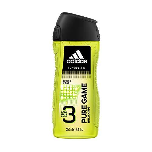 Adidas, Pure Game Gel Doccia Bagnoschiuma 3 in 1 per Corpo, Capelli e Viso, 250 ml