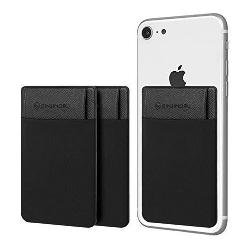 Sinjimoru - Sinji Pouch Flap - Tarjetero para teléfono Inteligente, Smart Wallet, Bolsillo para Tarjetas con pestaña de Cierre, Mini Cartera Adhesiva para iPhone y Android. (3 Unidades) Color Negro