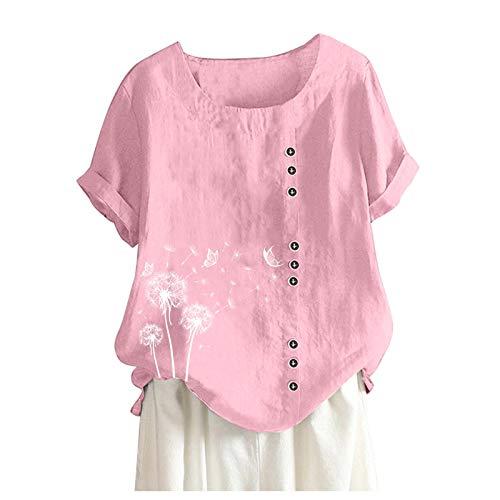 MAZHANG Shein Damen Oberteiledamen Oberteile Grosse grössen 66T-ShirtSchalenKleiddamen Oberteile Sommer sexy(P Pink XL)