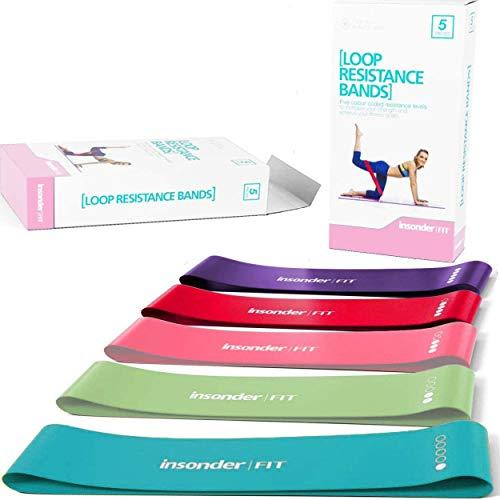 Insonder Elastiche Fitness Set di Banda Elastica Fasce Resistenza per Fitness Yoga Crossfit