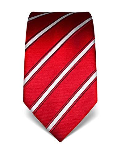 Vincenzo Boretti Herren Krawatte reine Seide gestreift edel Männer-Design zum Hemd mit Anzug für Business Hochzeit 8 cm schmal/breit rot