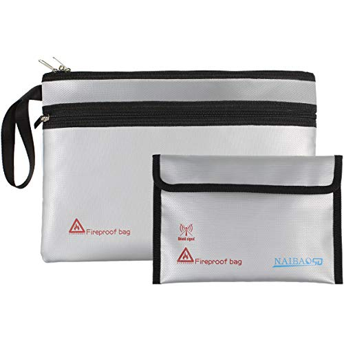 """Fireproof Document Bags (13.5""""x9.5"""") & Fireproof Money Bag (8.75""""x6.0"""") with Zipper Closure & Hand Strap for Documents, Cash, Coin, Credit Cards, Passport, and Valuables"""