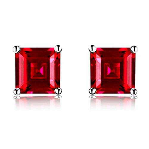 Navachi 925 Sterling Silver 18k White Gold Plated 1.6ct Square Ruby Az9141e Stud Earrings
