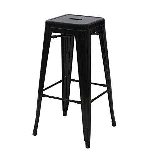 Mendler Tabouret de Bar HWC-A73, Chaise de comptoir, métal, empilable, Design Industriel - Noir