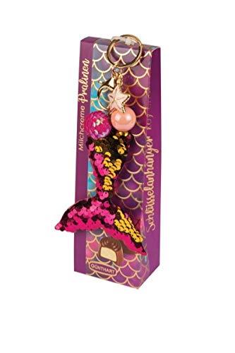 Günthart Pralinen-Box mit Schlüsselanhänger | Meerjungfrau-Flosse | Milchcreme-Pralinen | gold-pink | Präsentbox Set