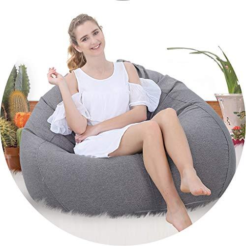 Muebles de la sala de estar puf silla interior al aire libre piso cubierta cojín impermeable con cremallera cómodo puf relleno sofá reclinable accesorios hogar, Partículas ambientales, gris, 80*90cm