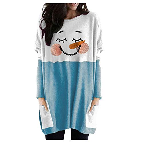 IHGWE Women's Long Knitted Jumper with Christmas Jumper Crew Neck Winter Jumper Christmas Sweater for Women Girls Christmas Jumper Ladies Teenager Girls Christmas Jumper - Blue - XXXXXL