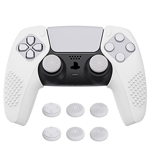 PlayVital Cover Grip Silicone Separabile per PS5 Controller Custodia Skin Protettiva Antiscivolo per Dualsense Joystick Copri Analogici(3D Borchiate)-Compatibile con Base di Ricarica-Bianco
