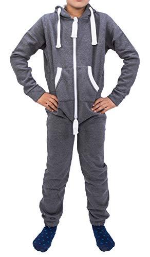 Rock Creek Kinder Jumpsuits Overall Jogger Onesie Jumpsuit Anzug Sportanzug Pyjama Fleecejumpsuit Jungen Mädchen H-138 Dunkelgrau 98-104