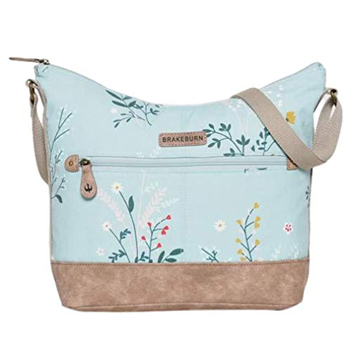 Lila Possum® Hobo-Tasche Blau Blumen Damen Baumwolle Canvas Schultertasche Handtasche, Blau - hellblau - Größe: Large