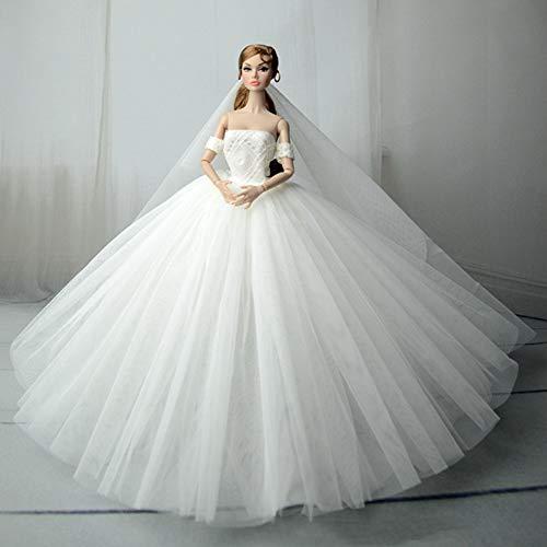 BeesClover Conveniente Life Elegante gola canoa vestido de noiva vestido longo para noite vestido de noite para bonecas de 30 cm, branco, apenas roupas (sem bonecas)