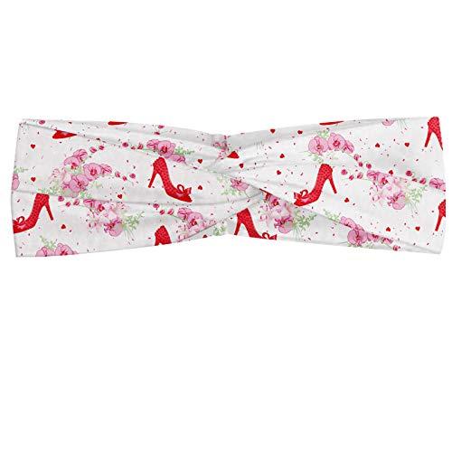 ABAKUHAUS Modern Hoofdband, Fashion Hoge hakken Flowers, Elastische en Zachte Bandana voor Dames, voor Sport en Dagelijks Gebruik, rood Wit