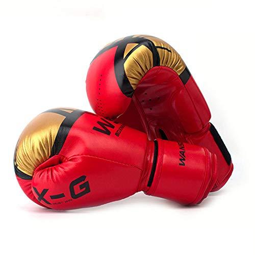 WOLIGEQ Guanti da Box Muay Thai Kick Guantoni da Boxe Guantoni da Boxe in Pelle PU per Uomo Donna Allenamento in MMA Grant Guantoni da Boxe Guanti Sanda, Rosso