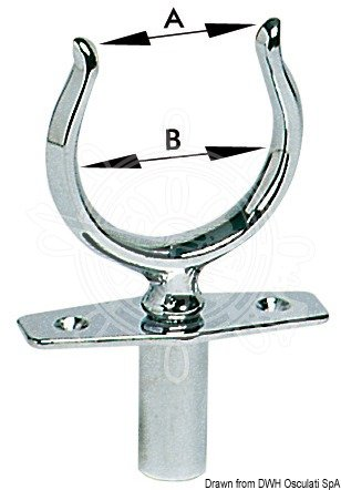 Osculati - Chumacera de latón cromado cilindrico de 12 mm con cojinete ciego 34.160.11