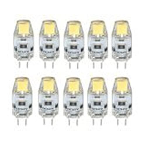 WELSUN G4 COB LED Bombilla, 12V 1.5W, 120-150LM, Equivalente a lámparas halógenas de 15W, Bombilla de Foco de Cristal no dimmable, de Cristal, Paquete de 10 [Clase de energía A +]