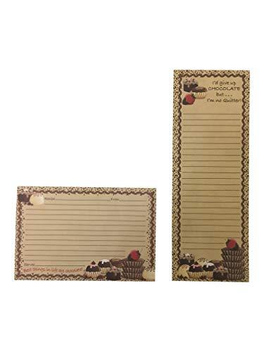 10 x 15 cm Rezeptkarteikarten mit Magnetlistenblock, Notizblock für Kühlschrank, Schokolade (Schokolade)