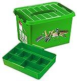 SUNWARE Q-Line Garten-Box + Einsatz - 22 Liter - 400 x 300 x 260mm - grün