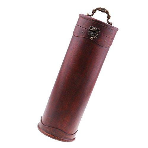 Milageto Caja de Almacenamiento de Vino Decoración de Exhibición Vintage Almacenamiento de Caja de Vino de Madera con Cerradura de Metal