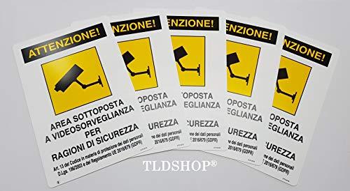 """TLDSHOP® CARTELLI SEGNALETICI IN PVC"""" AREA SOTTOPOSTA A VIDEOSORVEGLIANZA"""" 20X30 (5)"""