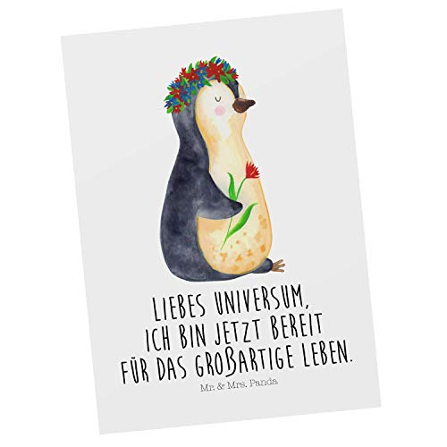 Mr. & Mrs. Panda Geschenkkarte, Grußkarte, Postkarte Pinguin Blumenkranz mit Spruch - Farbe Weiß