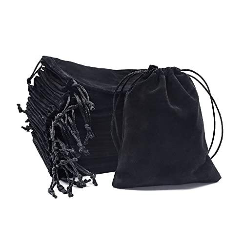 20pcs Bolsas de Joyería, Terciopelo Negro con Cordón Bolsa Almacenamiento de Regalo Boda para Embalaje de Regalos de Boda, Bolsa de Almacenamiento Fiestas 12x15cm