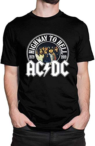 Frock ACDC Highway to Hell 1979-2019 Music Men's Tops Short Sleeve T-Shirt Black,Black,Small
