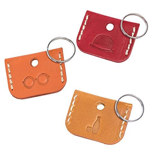 [タバラット] キーカバー 本革 日本製 イタリアンレザー 鍵カバー 二重カン付属 3個セット (3色)