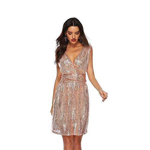 YYH Women'S V Neck Mouwloos Pailletten Glitter Clubwear Bodycon Cocktail Party Club Avond Mini Jurk XL apricotpink
