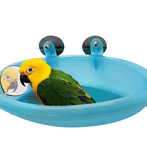 NIBESSER Vogelbad Mit Spiegel hängender Vogel Badekäfig für kleine Bräute Kanarienvogel Wellensittich Papagei (blau)