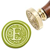 Letter E Wax Seal Stamp, Yoption Brass Head Botanical Alphabet Initial Sealing Stamp with Wooden Handle