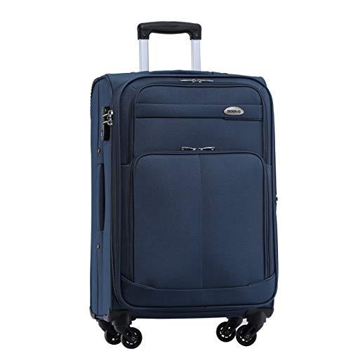 BEIBYE 4 Rollen Reisekoffer 3tlg.Stoffkoffer Handgepäck Kindergepäck Gepäck Koffer Trolley Set-XL-L-M (Blau, M-Handgepäck-54cm)