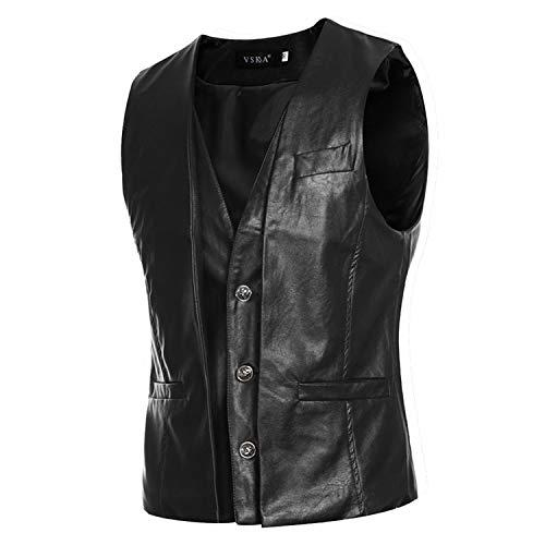 Motorrad-Lederweste PU ärmellose Jacke lässig Slim Cowboy Solid Weste Herren Outwear Kleidung Y Gr. XXL, Schwarz
