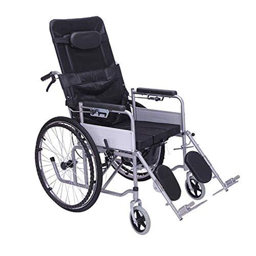 IREANJ Rehab Silla médica, silla de ruedas, silla de ruedas plegable ligero Suministros Médicos conducción médica for adultos, lleno de múltiples funciones reclinable silla de ruedas semi-ment