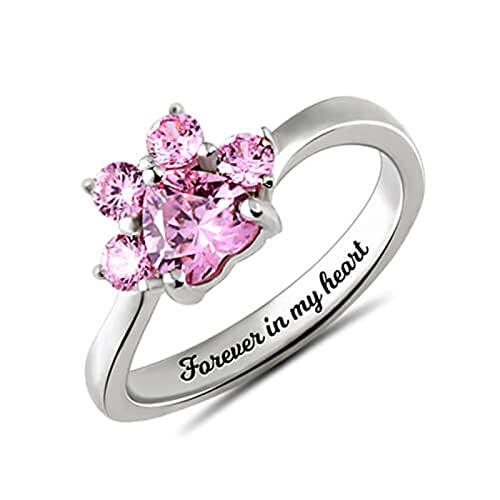 Anillo de nombre de anillo de piedra natal de corazón de garra de mascota personalizado anillo de plata aniversario de cumpleaños(Plata 17.5)