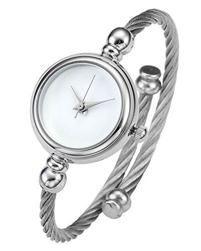 JSDDE Uhren Damen Armbanduhr Chic Manschette Damenuhr Spangenuhr Zeitlos Design Armreifen Quarzuhr Silber Weiß