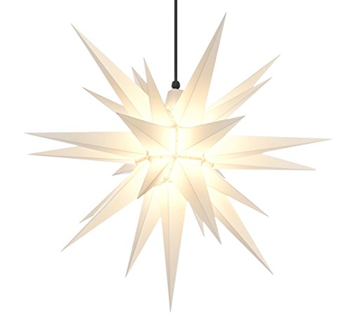 Elf Logic - 21' Large White Moravian Star 2018 New & Improved Hanging Outdoor Christmas Star Light, Holiday Decoration, Porch Light, 3D Fixture, Advent Star (21 Inch Assembly Required) (Incandescent)