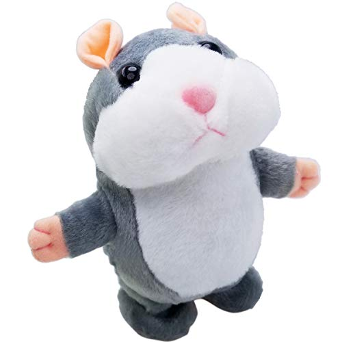 Upgrade Version Talking Hamster Mouse Toy - Repeats What You Say and Can Walk - Electronic Pet Talking Plush Buddy Hamster Mouse for Kids Gift Party Toys (Grey)