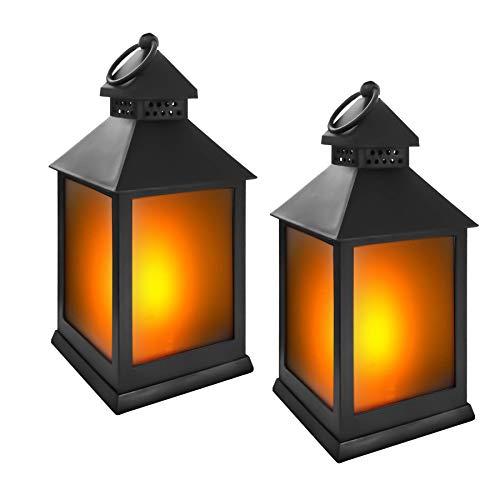 Eaxus® Juego de 2 portavelas LED con efecto de llama, decoración para salón y jardín