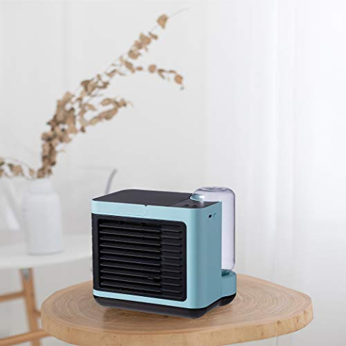 HOPEME Portable Air Conditioner, Desktop Air conditioner with Rechargeable Battery, Personal USB Evaporative Air Cooler with Humidifier and Night Light Function, Quite Fan Mode for Home Office (Blue)