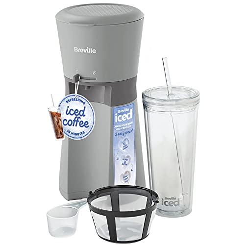 Breville Cafetera helada | Taza de café con pajita | Listo en menos de 4 minutos | Gris [VCF155]