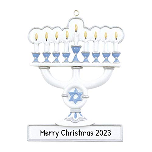 Personalized Menorah Christmas Tree Ornament 2021 - White Blue Candelabrum Seven Candle Branches Star of David Worship Religious 1st Family Chanukah Baby's First Hanukkah Year - Free Customization