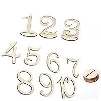Airlove 10ピース/パック番号1-10プレースホルダーテーブル番号フィギュアカード木製ウェディングデジタルシートデコレーション
